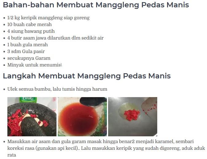 cara membuat manggleng pedas manis